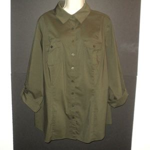Worthington Plus 2X Buttoned Shirt Brown-Olive